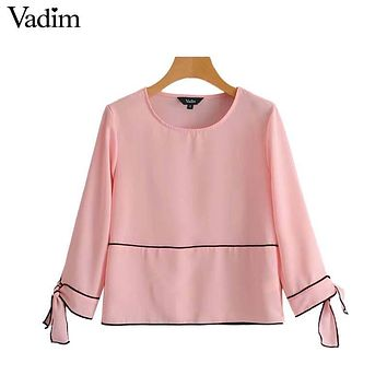 Vadim women sweet bow tie shirts long sleeve O neck black blouses vintage ladies autumn casual chic tops blusas mujer LT2337