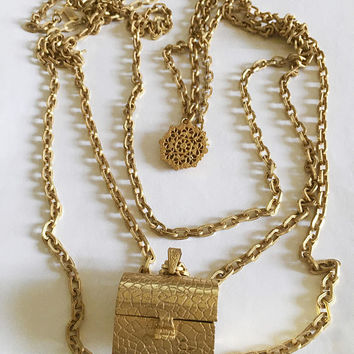 Vintage 1940's Signed Miriam Haskell Three Strand Large Textured Link Gold Toned Necklace with Treasure Chest Pendant