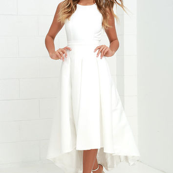 Paso Doble Take Ivory High-Low Dress