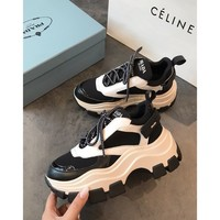 Prada Leather And Nylon Sneakers Black/white - Best Online Sale
