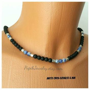 BEADED NECKLACE Matte Onyx-Sodalite Necklace Custom Jewelry Necklace for Men Men's Jewelry Men's Beaded Necklace Long Necklace Choker