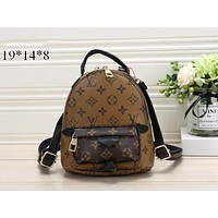 LV tide brand female classic old chess board retro casual sports backpack brown print