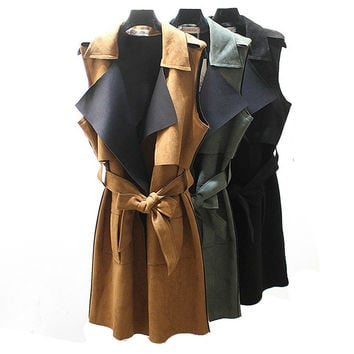 Plus Size Loose Large Lapel Retro Vintage Female Long Suede Vest Women Sleeveless Cardigan Black Olive Green Brown