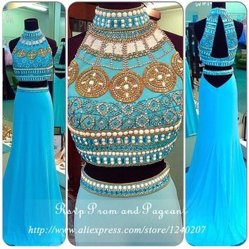 Luxury Blue Diamond Prom Dresses Two Piece Prom Dresses 2016 Halter Chiffon Long Mermaid Prom Dress In Real Pictures