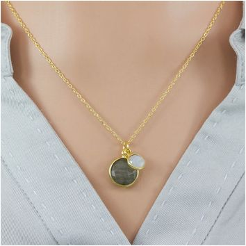 Sterling Silver Gold-Plated Natural Labradorite And Moonstone Pendant Necklace