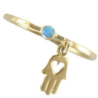 Solid Yellow Gold Hamsa And Center Heart With Opal Stone Ring Hand Of Fatima On Band Amulet Talisman For Good Luck