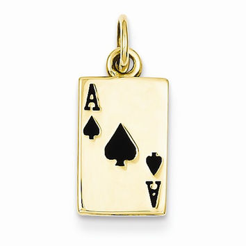 14k Yellow Gold Enamel Ace of Spades Card Charm