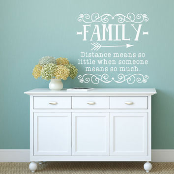 Distance Means So Little - Family Distance - Family Wall Decal - Family Sign - Wall Decals - Stickers - Missing You - Quotes for Wall