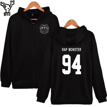 KPOP BTS Bangtan Boys Army  g Boys Hoodies Women Brand Zipper RAP MONSTER 94 Cotton Winter Jacket Women Brand Hoodies Black Casual Clothing Plus AT_89_10