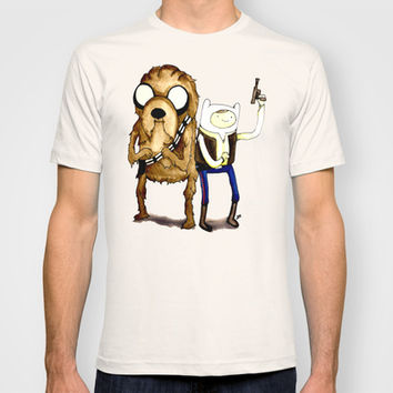 Space Adventure Time part 1 Han Solo Chewbacca Finn Jake watercolor www.justin13art.com T-shirt by Justin 13 Art