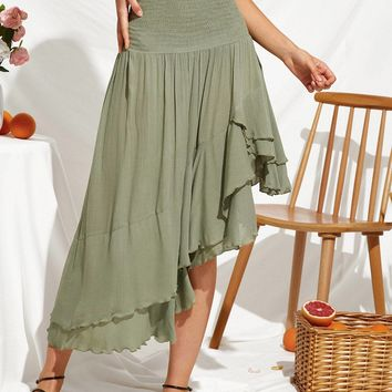 Shirred High Waist Asymmetrical Hem Flowy Skirt