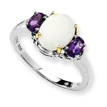 Sterling Silver & 14K Gold Genuine Opal & Amethyst Ring