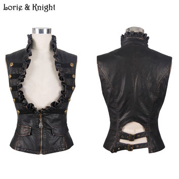 Women Black Brassy PU Leather Steampunk Vest Waistcoat WT00502