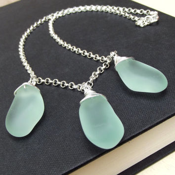 Aqua Sea Glass Necklace:  Fine Silver Wire Wrapped Seafoam Mint Green Statement  Beach Jewelry
