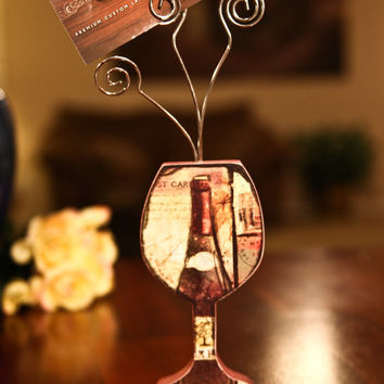 Italy Wine Glass Card Holder or Picture Holder
