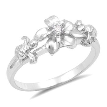 Sterling Silver Turtle and Plumeria Flower Ring
