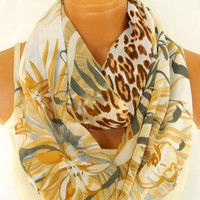 Spring infinity Scarves,Loop Scarf,Circle Scarf,Brown, Mustard Leopard Pattern chiffon fabric Scarf,Nomad Cowl. Leopard Pattern,