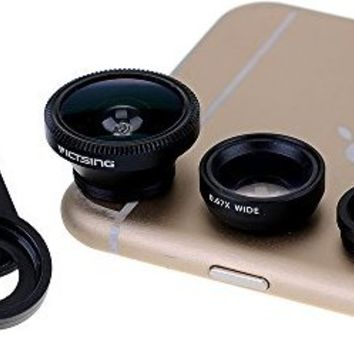 VicTsing Clip 3-in-1 180°Fish-Eye Lens+Wide Angle Lens+Micro Lens Camera Lens Kits