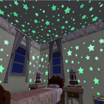 100 Pieces Wall Stickers Illuminate In The Dark Baby Kids Bedroom Decor Bright Stars of Fluorescent Color Tattoos Wall Stickers