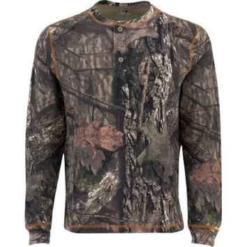 Mossy Oak Men's Long Sleeve Thermal Henley, Mo Country, 2XL