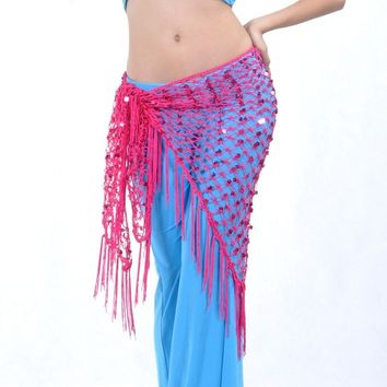 Mermaid Sequin Fringe Oriental Bellydance Belly Dance Costume Belt for Women Indian Dancing Waist Hip Scarf Scarves Accessories