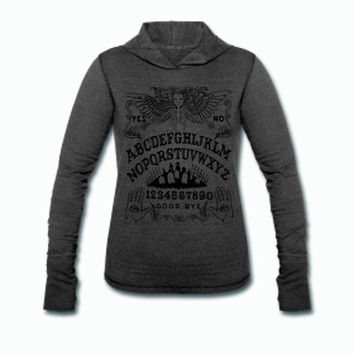 Ouija board hooded tri blend long sleeved shirt
