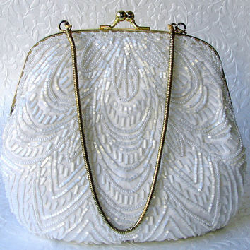 White Wedding Beaded Satin Purse Vintage Frosted Glass Bead Handbag Formal Evening Bag La Regale Gold Colored Frame Chain Strap Faux Pearl