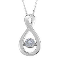 14k White Gold Figure Eight Infinity Sign Dancing Diamonds 18 Inch Necklace - 0.10ct. Diamond