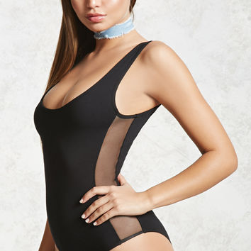 Sheer Mesh-Panel Bodysuit