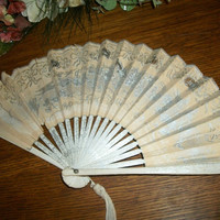 Antique 1930's Paper Fan Geisha Hand Fan Elegant Hand Painted Bamboo Gold Silver Hearts Flowers Butterflies