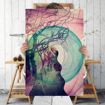 Surreal Tree Art Print - Fantasy Large Woodland Wall Art, Digital Download | Bohemian Decor by Mila Tovar