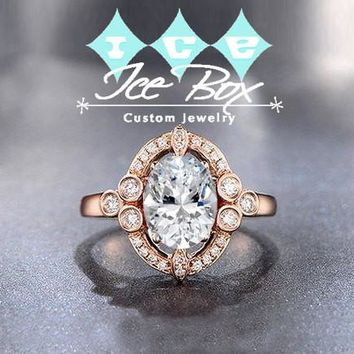 Moissanite Engagement Ring 2.25ct, 7x9mm Oval Forever Brilliant Moissanite Bezel set in a 14K Rose Gold Art Deco Diamond Halo Setting