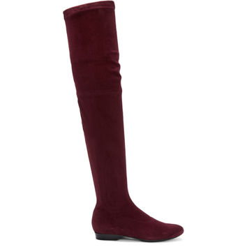 Burgundy Suede Fetel Over-the-Knee Boots