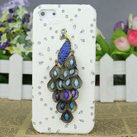 Crystal Peacock White Hard Case Cover for Apple iPhone5 Case,iphone 5 case,iphone 5 cover,iphone 5g case,