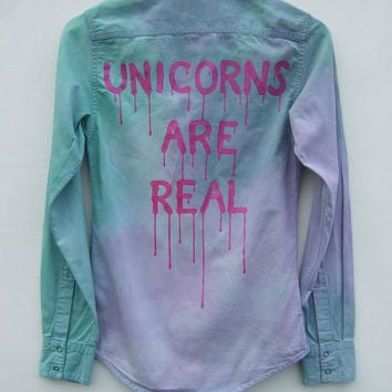 Unicorn Pastel Goth Kawaii Style Tie Dye Denim Shirt, Unicorns Are Real Tumblr Aesthetic Grunge Dripping Font Top, Blogger Fashion