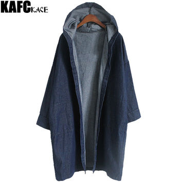 KAFAKACE Korean Style Windbreaker Autumn Female Basic Coats Full Sleeve Hooded Loose Women Denim Jacket Pockets Casual Cardigan
