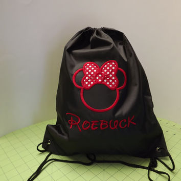 Custom Personalized Embroidered Disney Mickey or Minnie Cinch Drawstring Backpack Bags