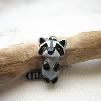 Tiny baby raccoon necklace