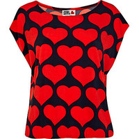 Red Chelsea Girl heart print top