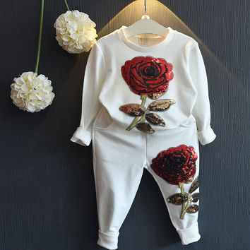 Girls Clothing Sets Autumn Boys sport Clothes suits Rose Printing Sweatshirts+Casual Pants 2Pcs for Kids winter clothes sport