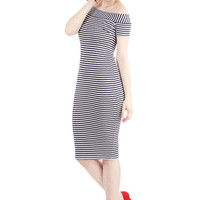 Bettie Page Nautical Long Short Sleeves Sheath Wave of Delight Dress