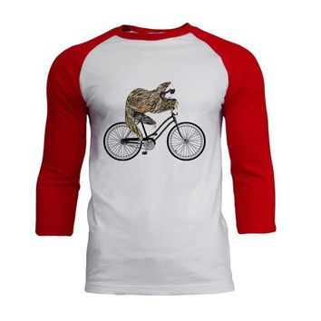 LMFCY8 Bicycle Sloth Mens Soft Raglan T Shirt