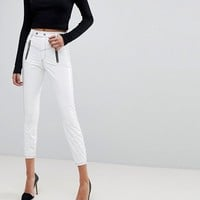 ASOS RIDLEY High Waisted Skinny Jeans In White Vinyl With Contrast Stitch Detail at asos.com