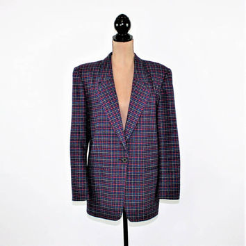 80s Wool Blazer Jacket Women Large Houndstooth Plaid Boxy Oversized Maroon Purple Blue Gray Size 12 Jacket Vintage Clothing Womens Clothing