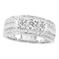 3 Stone Diamond Bridal Ring in 14k White Gold 1 ctw