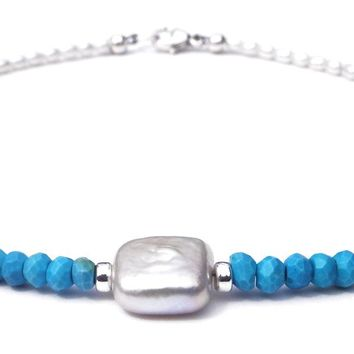 Handmade Silver Freshwater Pearl Gemstone Beaded Anklets Turquoise