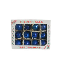 Vintage Ornaments Christmas Tree Blue Bulbs - Set of 12- 2 Inch Bulbs  - Royal Blue Shade with Original Box