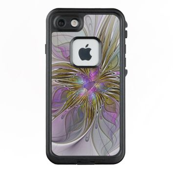 Floral Colorful Abstract Fractal With Pink & Gold LifeProof® FRĒ® iPhone 7 Case