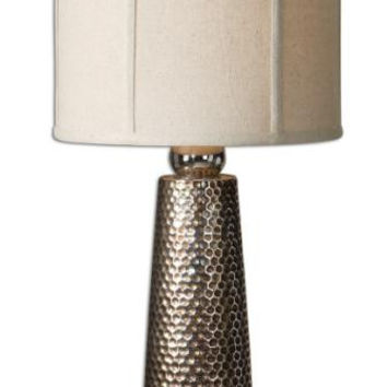 Buffet Table Lamp - Nickel Plated Mesh Body With Golden-bronze Glaze And Nickel Details