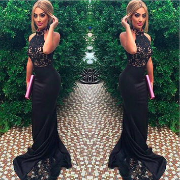 2016 Halter Sleeveless Mermaid Prom Dresses Lace Appliques Black Special Custom Sweep Train Lady Wedding Party Dress Gowns Sexy
